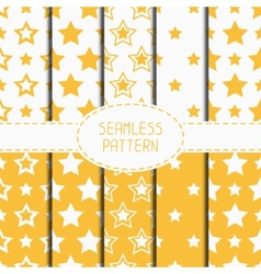 Set of yellow geometric seamless pattern with vector image