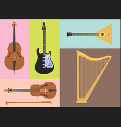 Set stringed musical instruments classical vector