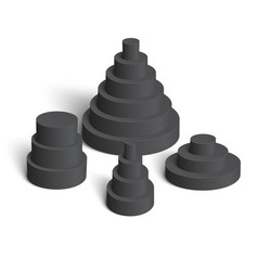 Set white cylindrical pyramids on white vector