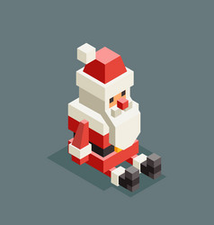 sitting santa claus isometric grandfather vector image