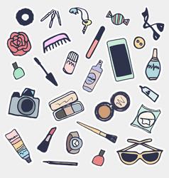 sticker beauty items set hand drawn cartoon vector image