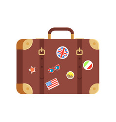 suitcase for traveling isolated on white backdrop vector image