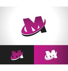 Swoosh Alphabet Icon M vector image