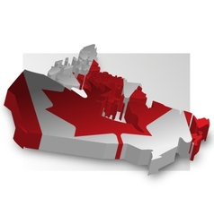Three dimensional map of Canada in flag colors vector