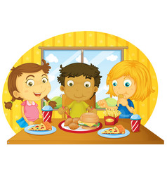 Three kids having meal on table vector