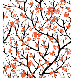 tree branches with red blossom floral seamless vector image