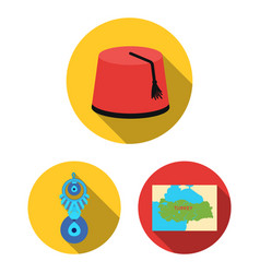 Turkey country flat icons in set collection vector