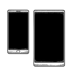 two modern mobile phone vintage drawn black vector image