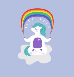 Unicorn in a yoga pose holds a rainbow vector