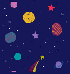 Universe space planet star seamless pattern vector