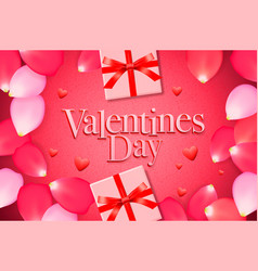 valentines day sale background with gift box rose vector image