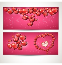 vertical and horizontal Flyers with hearts set 4 vector image