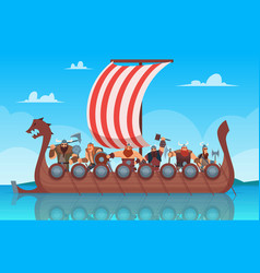 vikings battle ship travel history boat with vector image