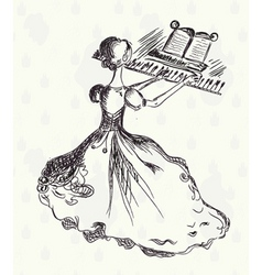 Vintage pianist vector