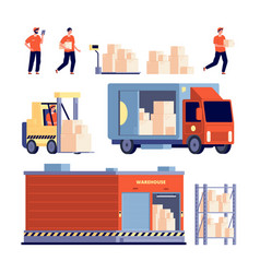 warehouse isolated delivery truck stock unloading vector image