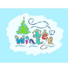 Winter text hand drawn creative seasonal card vector