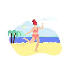 Woman dressed in swimwear dance on summer beach vector
