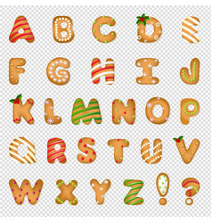 Xmas gingerbread cookie alphabet vector