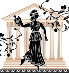 greek woman with olive vector image