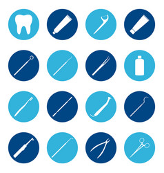 set of white dental icons on color background vector image