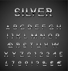 Silver alphabet set vector image