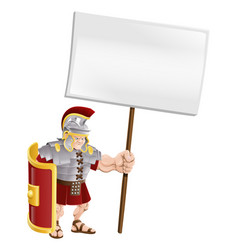 tough roman soldier holding sign board vector image vector image