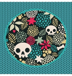 Big skulls and flowers background vector image