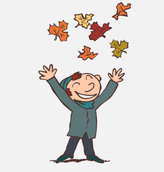 child throwing in the air funny autumn leaves vector image
