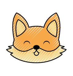 cute scribble fox face cartoon vector image vector image