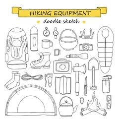 doodle set of hiking and camping equipment vector image