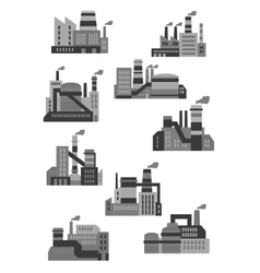 Flat plants and factories icons vector image vector image