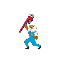 Plumber eagle standing pipe wrench cartoon vector