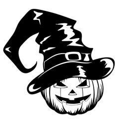 pumpkin in halloween hat vector image