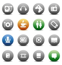 Round buttons for music and leisure vector image vector image
