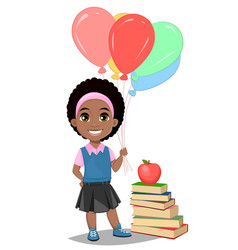 back to school cute afro-american girl in casual vector image vector image