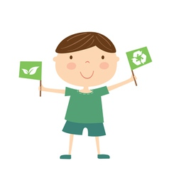 boy with eco flag isolated vector image vector image