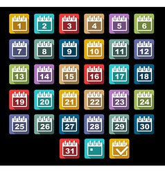Calendar Day icons set with long shadow vector image