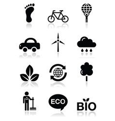 Green ecology black clean icons set vector image vector image