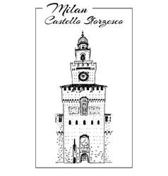 sforza castle or castello sforzesco sketch vector image vector image