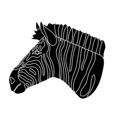 zebra icon in black style isolated on white vector image vector image