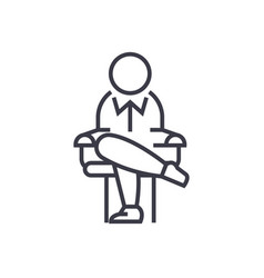 boss sitting on chair concept thin line vector image vector image