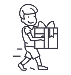 boy carring gift line icon sign vector image