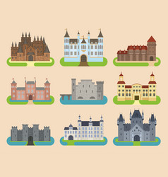 cartoon old castle tower icon flat vector image