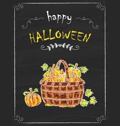 halloween pumkins doodle on the black board vector image