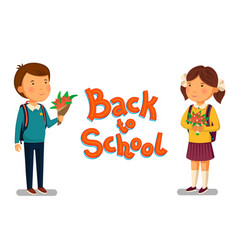 schoolboy and schoolgirl with back to vector image