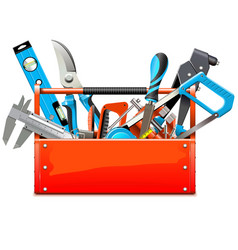 toolbox with hand tools vector image