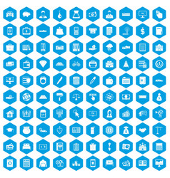 100 credit icons set blue vector
