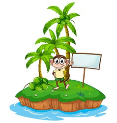 An island with a monkey and a signboard vector image