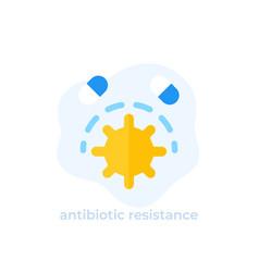 Antibiotic resistance icon flat vector