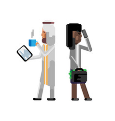 arabic man with tablet computer vector image